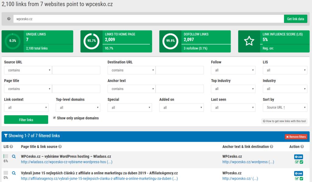 OpenLinkProfiler.org - rýchloanalýza spätných odkazov pre web WPCesko.cz